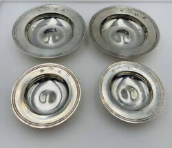 4 Antique Alfred Dunhill Sterling Silver Coaster Dishes