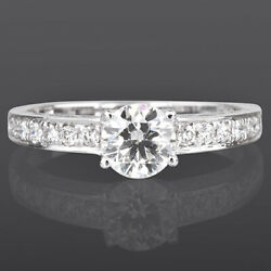 Genuine 1 Ct 4 Prong 14 Kt White Gold Diamond Ring Solitaire And Accents Lady