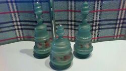 Victorian Decanters - Green With Hand Painted Designs - Vintage