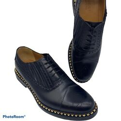 Mens 11 G 11.5 Us Star Studded Brogues Oxford Dress Shoes Black Gold Gg
