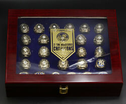 New York Yankees 27 Championship Ring Display Set With Wooden Box