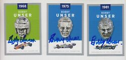 Lot Of 3 Bobby Unser Indianapolis 500 Borg Warner Trophy Cards Indy 500 Signed