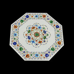 24and039and039 White Marble Table Top Center Corner Lapis Malachite Inlay Decor Antique Li