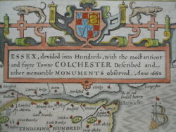 Map, Essex, John Speed, C.1676, Basset And Chiswell, Antique Original. §