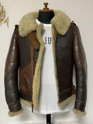 Real Mccoyand039s War Model B-3 Leather Mouton Jacket 38 Brown Free Shipping From Jp