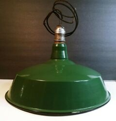 16 Green Porcelain Gas Station Industrial Barn Lamp Light Downrod Available