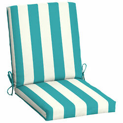 Outdoor Dining Chair Cushions High Back Patio Furniture Turquoise Cabana Stripe