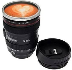 1 X Coffee Mug Camera Lens Travel Thermos Stainless Steel Insulated Cup