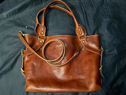 Florence Shoulder Leather Satchel bag Hand Made In Italy $100.00