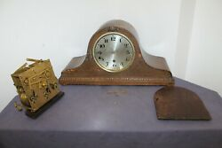 Antique Vintage Westminster Regulator Clock Movement With Dial And Wooden Box .