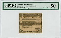 1800s 75c Vermont State Bank At Office Of Discount And Deposit Vermont Note Pmg 50