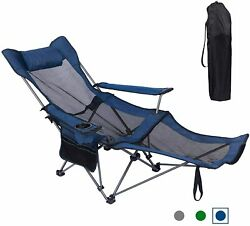 Reclining Folding Camp Lounge Chair Footrest Portable Nap Outdoor Beach Fishing