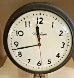Vintage 1940s Ge Telechron Large 14 Wall Clock 120 Volt In Excellent Condition
