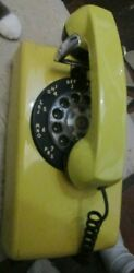 Bell Systems Western Electric Wall Rotary Dial Telephone Phone Yellow And Black