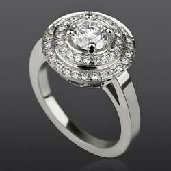 Colorless Diamond Double Halo Ring Authentic 2.36 Ct 18 Kt White Gold 4 Prong
