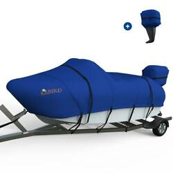 King Bird 20and039-22and039 Oxford Heavy Duty Trailerable V-hull Boat Cover W/ Motor Cover