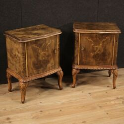 Pair Of Night Stands In Inlaid Wood Antique Style Bedroom Furniture Vintage