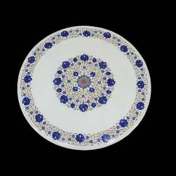 30'' White Marble Coffee Center Table Top Inlay Antique Mosaic Lapis Round Er