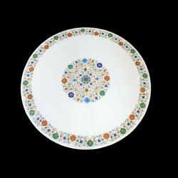 36and039and039 White Marble Coffee Center Table Top Inlay Antique Round Mosaic Lapis Gf