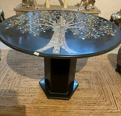 30'' Black Marble Coffee Center Sofa Table Top Antique Inlay Mosaic With Stand