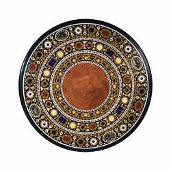 4and039x4and039 Black Marble Coffee Dining Sofa Table Top Antique Inlay Mosaic Round