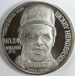 1990 Ricky Henderson All Time Stolen Base Record 1oz Silver Round .999
