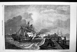 Original Old Antique Print Ship And Crew Saved Sea Storm Waves Ship 1868 19th