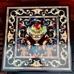 24and039and039 Black Marble Coffee Center Sofa Table Top Bird Antique Inlay Mosaic J1