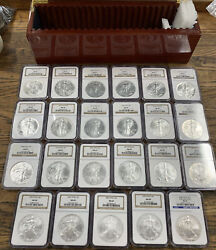 Lot Of 23 1986-2008 American Silver Eagle 1 Oz Set   Ngc Ms69 Ase Hot 🔥