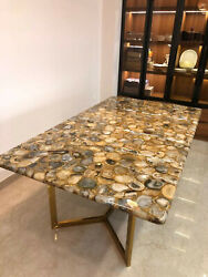 5'x2.5' Marble Table Top Dining Coffee Center Inlay Agate Decor Home K2