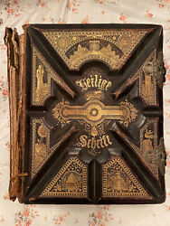 Antique German Family Bible 1874 Heilige Schrift Illustrated W/ Clasp