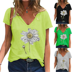 Womenand039s Daisy Oil Painting Printing T-shirts Oversized V-neck Short Sleeve Tees