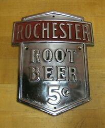 Rochester Root Beer 5c Original Old Metal Soda Ad Sign J Hungerford Smith Co