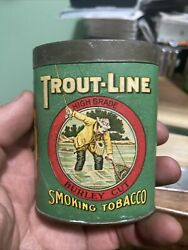 Vintage Trout Line Oval Slide Top Smoking Tobacco Cardboard Tin Great Graphics N