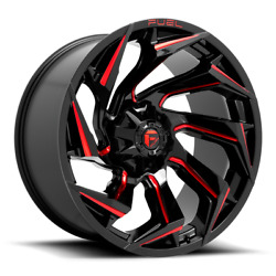20x10 Black Red Fuel Reaction 1990-2021 Lifted Chevy Gmc 1500 6x5.5 D755 -18mm