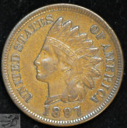 1897 Indian Head Cent, Penny, Almost Uncirculated Condition, Free Ship C4959
