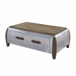 Bowery Hill Coffee Table In Antique Oak And Aluminum