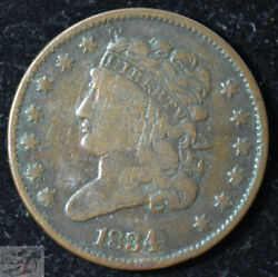 1834 Half Cent Early Copper Fine+ Condition 187 Years Old Free Ship C5460