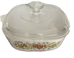 Corning Spice Of Life 2qt Square Casserole Baking Dish A-2-b With Lid A-9-c
