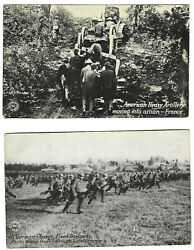 Ww1 American Hvy Artillery / German Charge With Bayonets Pc Chicago Daily News