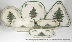 Lot 7 Spode Christmas Tree Serving Bowls Platters Dishes England