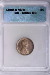 1909-s Vdb Lincoln Wheat Cent Penny Icg Ms61 Rb Super Nice Free Shipping Acckx