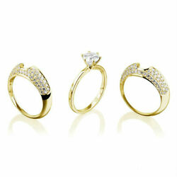 2 Carat Women Round Multiple Bands Diamond Ring Vs2 14k Yellow Gold Earth Mined