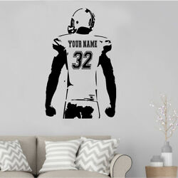 Personalized Custom Football Wall Sticker Decal Sport Player Man-caves