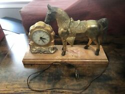 Vintage United Clock Corp Brass Tone Horse Clock With Bakelite Base Collectible