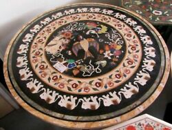 36 Black Marble Table Top Room Dining Coffee Inlay Lapis Mosaic Decor Antique