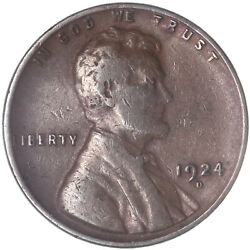 1924 D Lincoln Wheat Cent Fine Penny Fn See Pics J438