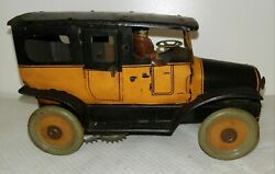 1920's Orobr Tin Lithograph Taxi Cab Open Door German Spring Windup Works Great