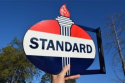 Old Style Standard American Motor Oil And Gas Torch Steel Flange Sign Made In Usa