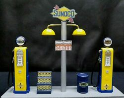 Sunoco Gas Pump Island Display W/ Gas Price Sign 118th Hand Crafted New